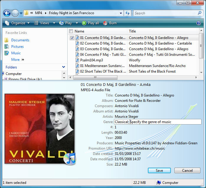Windows Shell Extensions for Apple  M4A Music Files